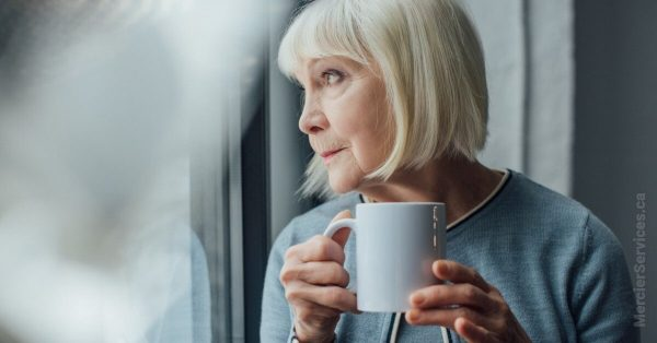 senior woman with coffee mug
