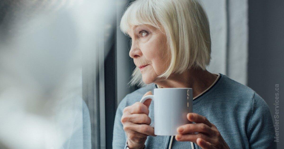 senior woman with coffee mug